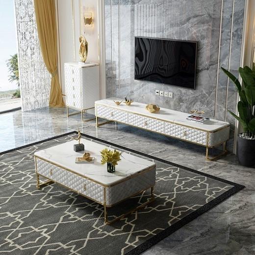 【艾菲家居】现代简约客厅家具意式镀金后现代大理石茶桌 轻奢茶几电视柜组合茶几