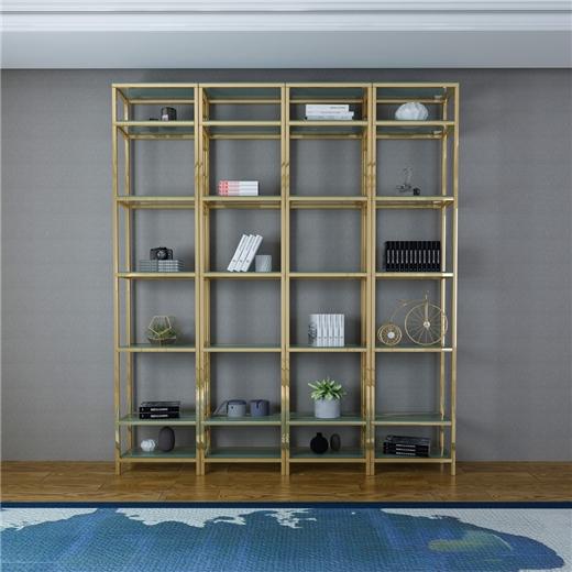 【艾菲家居】  简约不锈钢玻璃港式样板房收纳架多层置物架 轻奢后现代书架