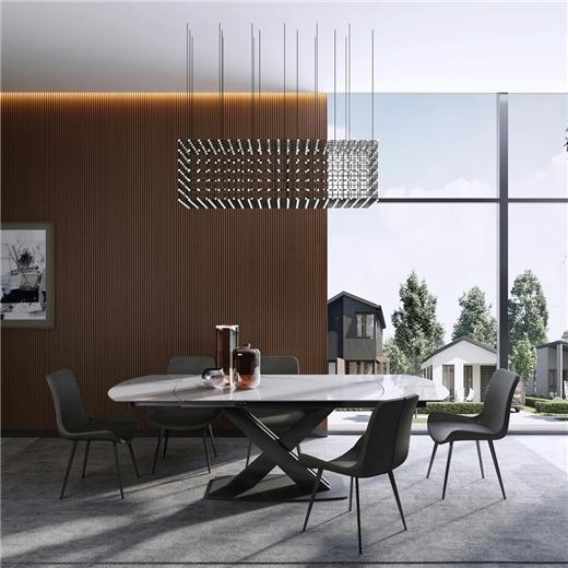 【艾菲家居】大理石餐桌可伸缩折叠北欧简约现代岩板长方形小户型餐桌