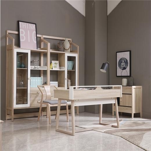 【安琦美居】全实木北欧风格极简储物柜时尚现代大空间带抽屉书柜