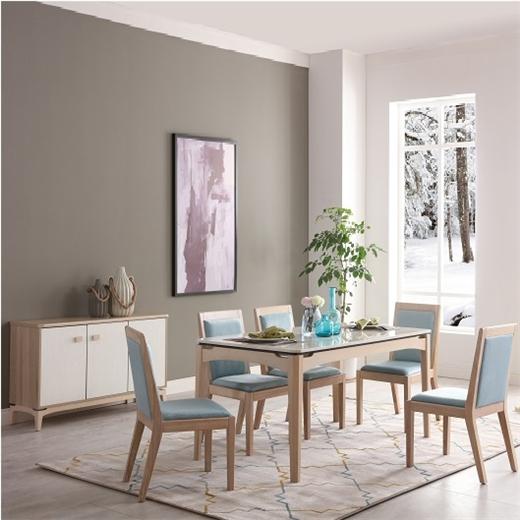 【安琦美居】北欧实木餐桌椅组合小户型家用大理石餐台餐厅简约长方形吃饭餐桌