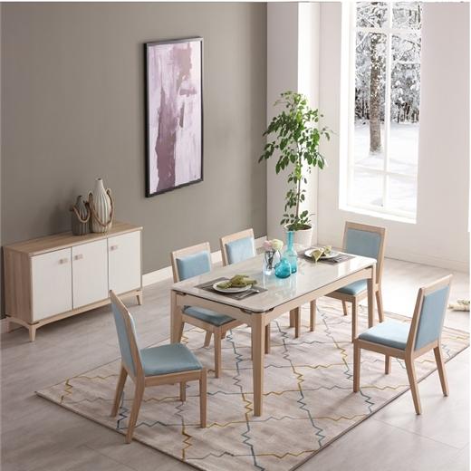 【安琦美居】北欧复古实木餐椅现代简约布艺/皮椅咖啡馆桌椅餐厅桌椅