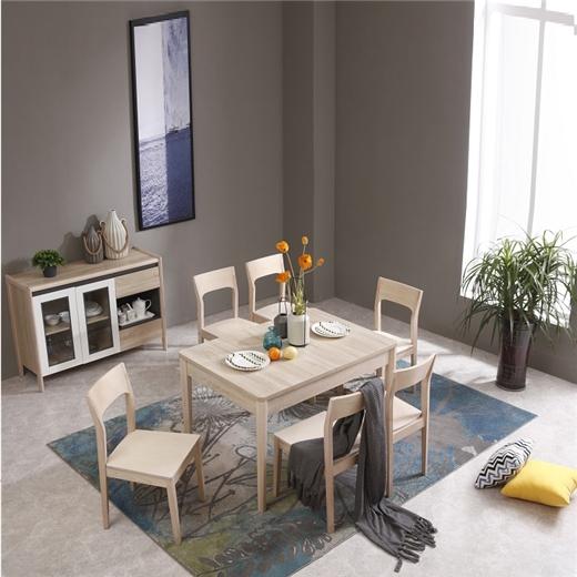 【安琦美居】北欧现代简约家用餐桌椅套装小户型客厅长方形伸缩餐桌实木脚饭桌拉伸餐台