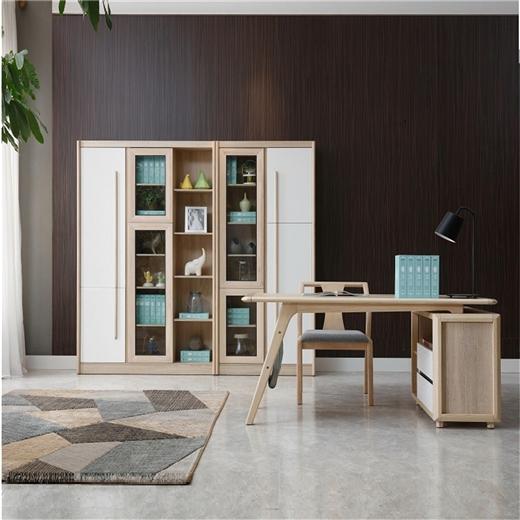 【安琦美居】北欧组合书柜实木大容量两门三门通用书柜书架柜抽屉储物收纳柜书柜