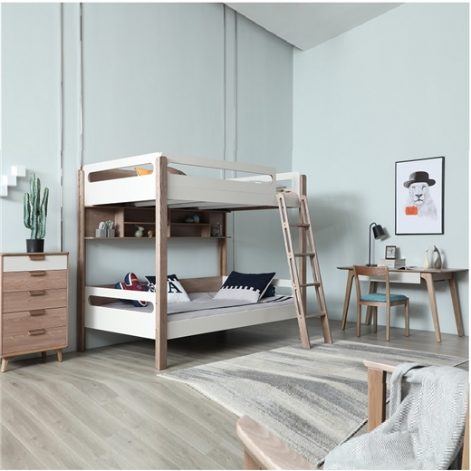 【安琦美居】带护栏双层上下床男 女孩床儿童家具子母床高低床儿童房白蜡木床