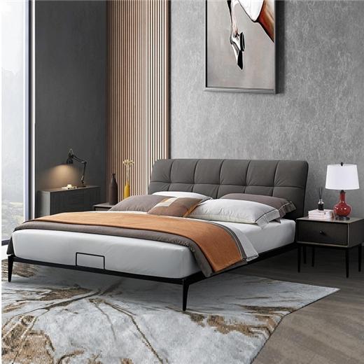 【川盟】意式极简主卧床现代简约卧室科技布双人床时尚舒适网红床