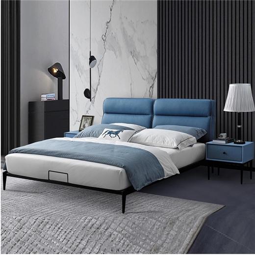 【川盟】现代简约风美式极简床北欧时尚新款 卧室家居实木科技布双人床