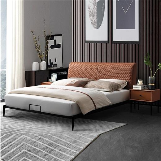 【川盟】现代轻奢科技布床 现代简约主卧1.8米双人床婚床北欧进口落叶松实木排骨条床