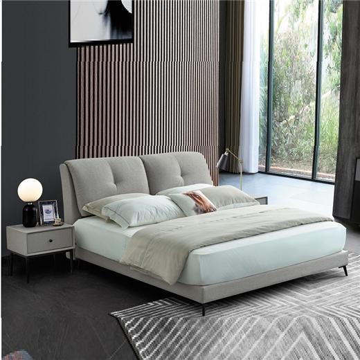 【川盟】现代简约布艺床创意箱体床结婚双人床北欧实木拆洗布艺床