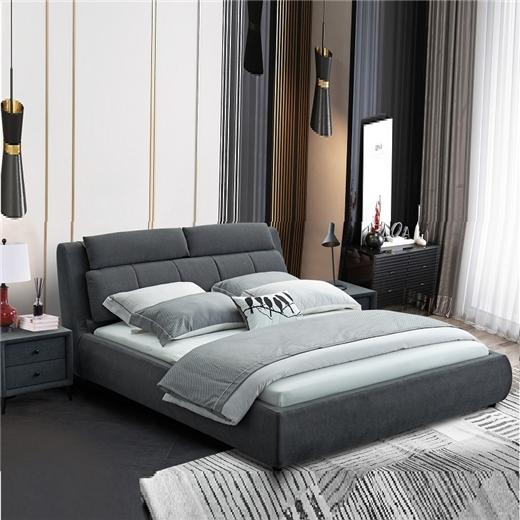 【川盟】北欧主卧现代极简软包轻奢大气1.8米卧室婚床亲肤雪尼尔面料实木床