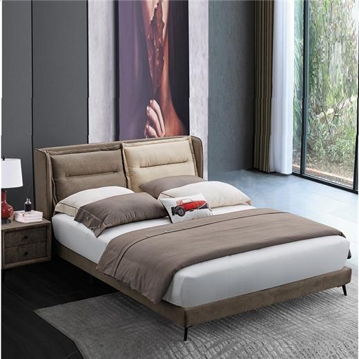【川盟】卧室简约现代小户型双人床主卧北欧软包实木带绒科技面料大床