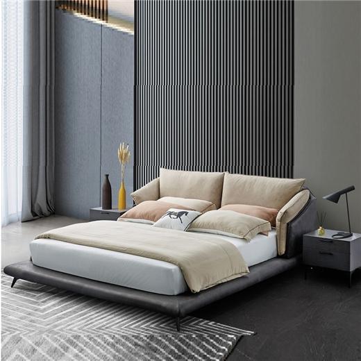 【川盟】意式极简布艺床 主卧婚床大床现代时尚极简床双人床现代简约科技布床