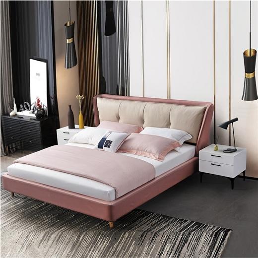 【川盟】布艺床现代简约科技布双人1.8米麻布主卧小户型软包床粉色公主床