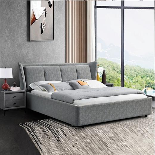 【川盟】简约轻奢液压高箱床床现代简约1.8米主卧双人床北欧实木极简1.5软包床