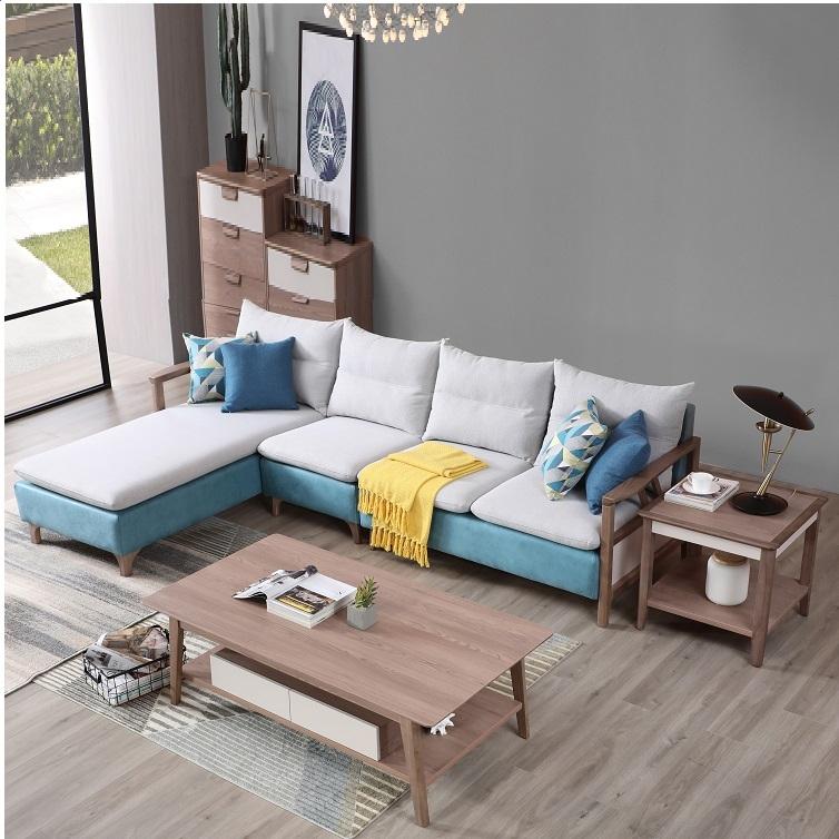 【安琦美居】北欧布艺沙发实木沙发转角家具组合可拆洗懒人小户型贵妃榻组合沙发