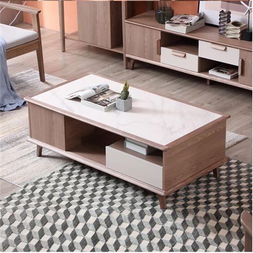 【安琦美居】北欧实木茶几电视柜组合简约现代小户型客厅家用白蜡木岩板茶桌