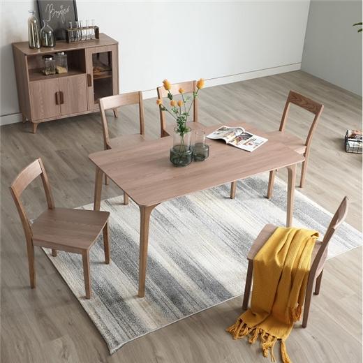 【安琦美居】实木岩板餐桌简约现代小户型餐桌椅组合北欧原木家用饭桌桌子