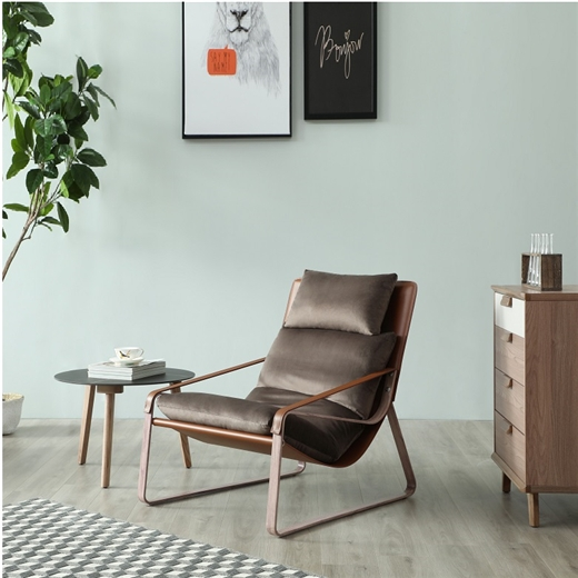 【安琦美居】意式轻奢单人沙发简约现代设计师单椅复古轻奢老虎椅阳台休闲沙发椅