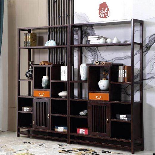 【虔信家居】新中式实木书柜博古架多功能置物架现代办公室书房家具简约禅意拼色书架书柜
