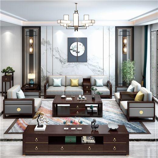 【虔信家居】新中式实木沙发大小户型客厅整装轻奢茶几组合家具可拆洗布艺沙发