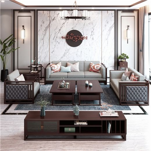【虔信家居】客厅大户型茶几新中式禅意实木沙发组合可拆洗布艺组合沙发
