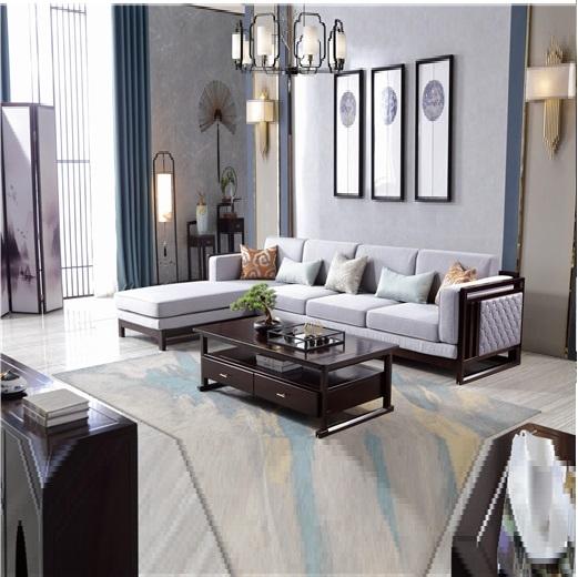 【虔信家居】新中式实木沙发组合小户型贵妃沙发客厅布艺沙发组合