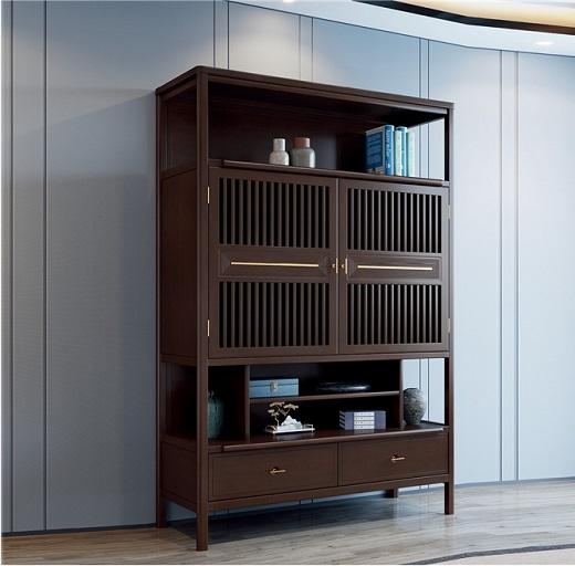 【虔信家居】新中式禅意实木书柜二门自由组合多格木质书橱书架抽屉书房柜