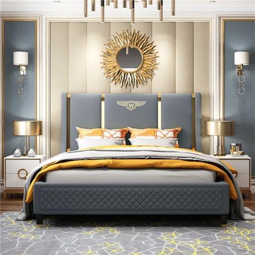 【光之屋】后现代轻奢免洗科技布双人床简约港式主卧婚床