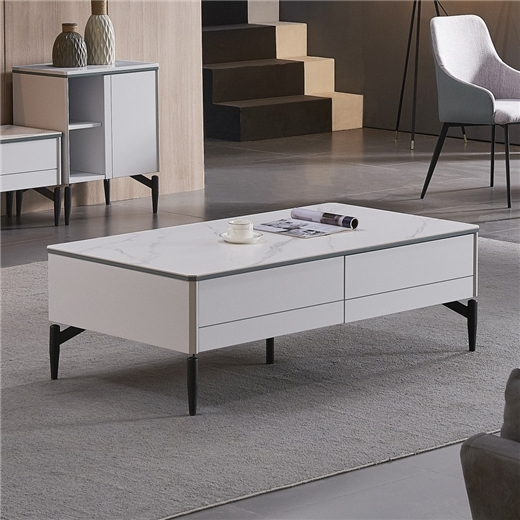 【新红阳】新优美系列 现代极简  客厅茶几现代大小户型白长方形茶几