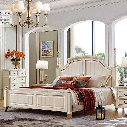 【美茵河畔】美式实木床 1.8米主卧双人床   简约美式白色描金大床(象牙白)