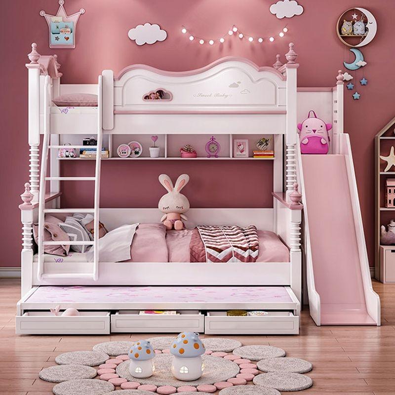 【美卡尔】高低床云朵上下床双层床儿童床创意上下铺子母床 (藕粉色)