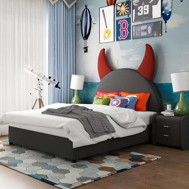 【诺蒂亚】D款小恶魔  儿童卧室小恶魔卡通皮艺软包床1.5m儿童床