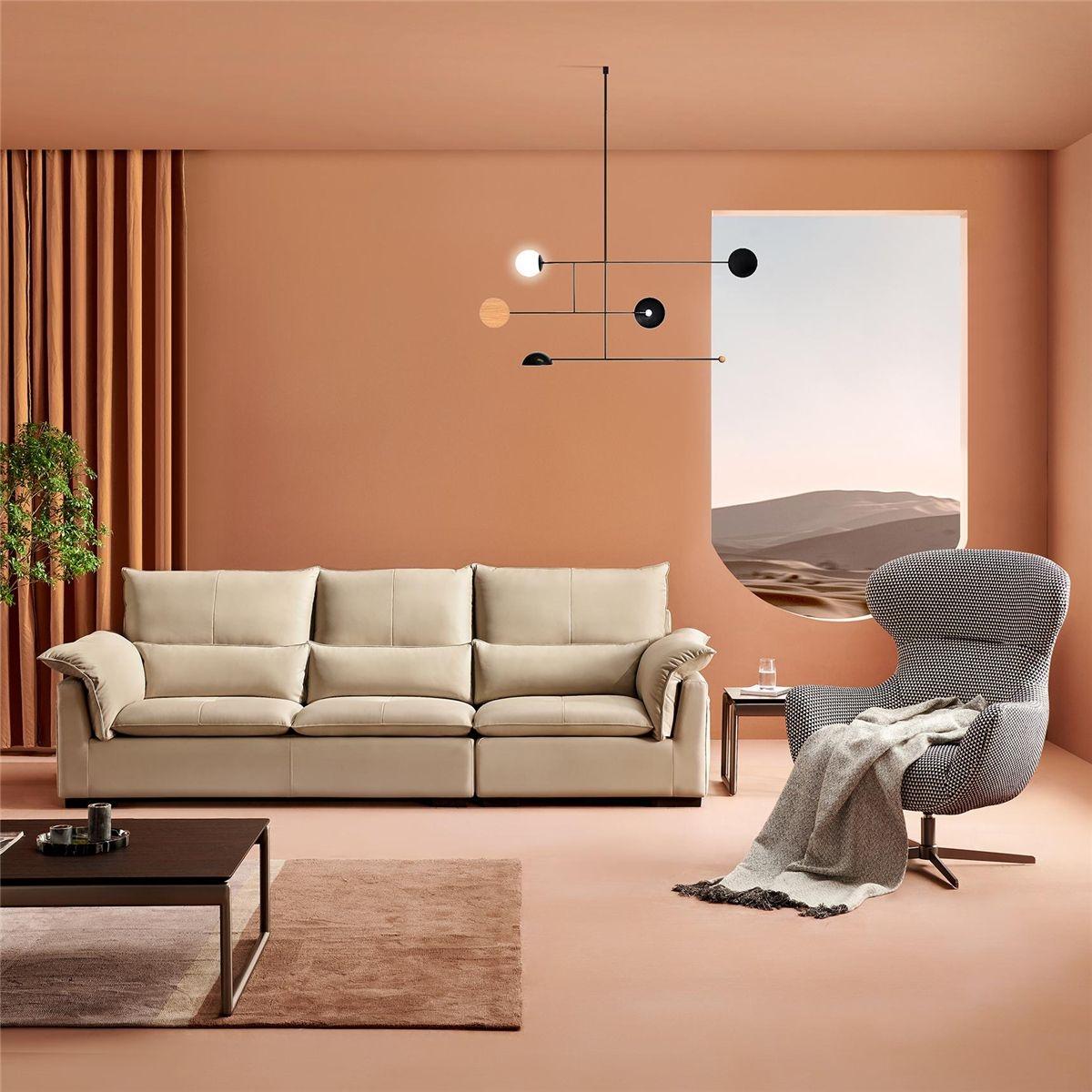【卡奇尔】个性现代三人位 公寓简约头层牛皮舒适123人沙发组合