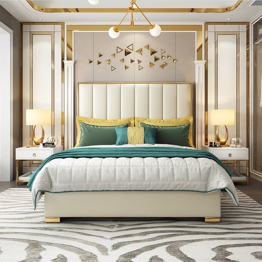 【摩登奢居】后现代简约主卧室港式婚床大小户型皮艺不锈钢镀金双人床  真皮