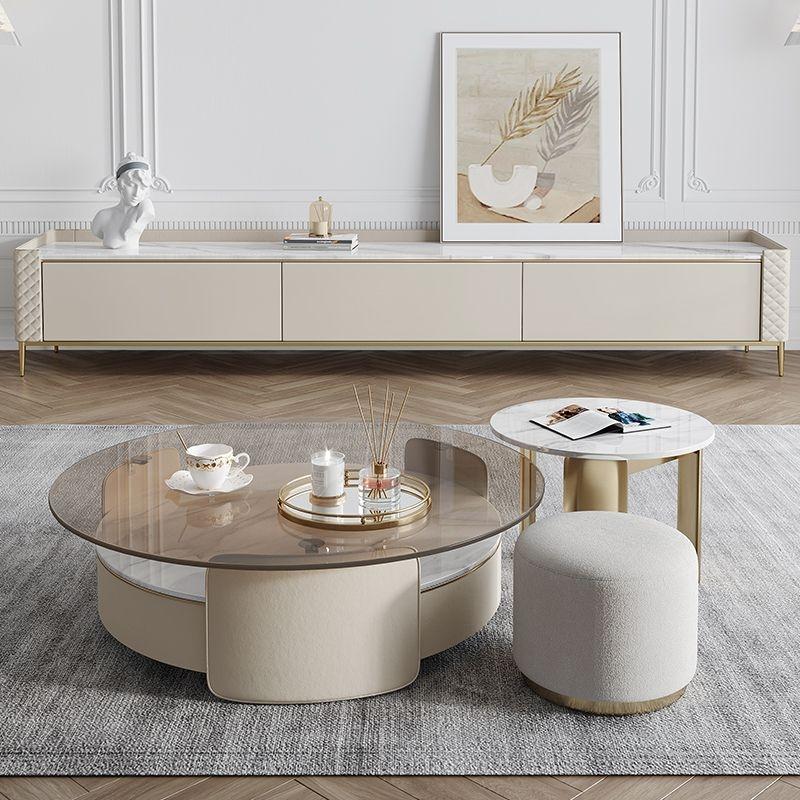【摩登奢居】设计师轻奢茶色钢化玻璃茶几客厅家用圆形创意岩板茶桌
