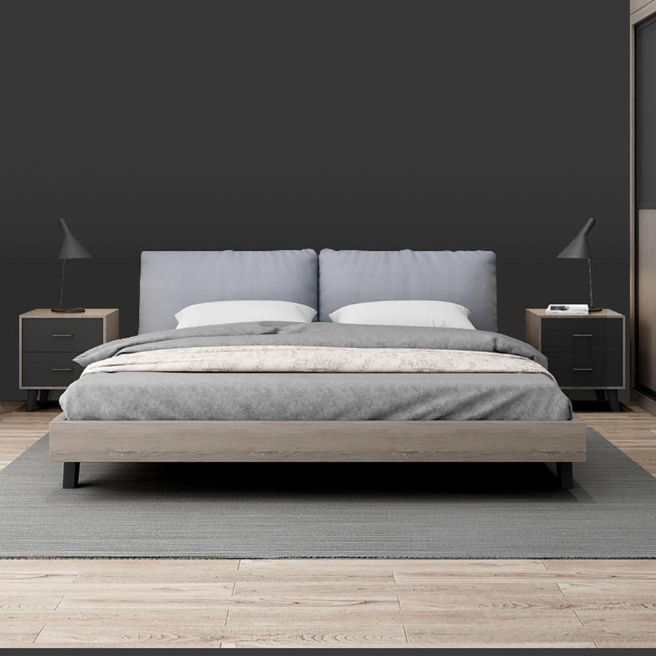【挪威印象】现代风格实木床1.5米床现代1.8米床简约主卧室靠背床