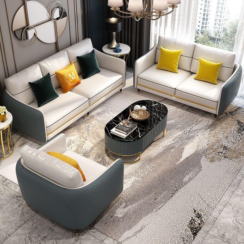 【奢里家居】轻奢  真皮面料 客厅高端1+2+3沙发(真皮墨绿色)