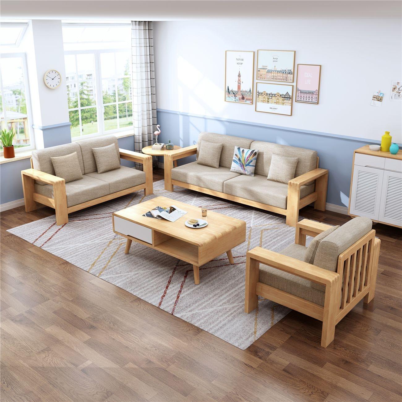 【虔信家居】大北欧原木色系列   橡胶木框架  透气棉麻布面料   1+2+3