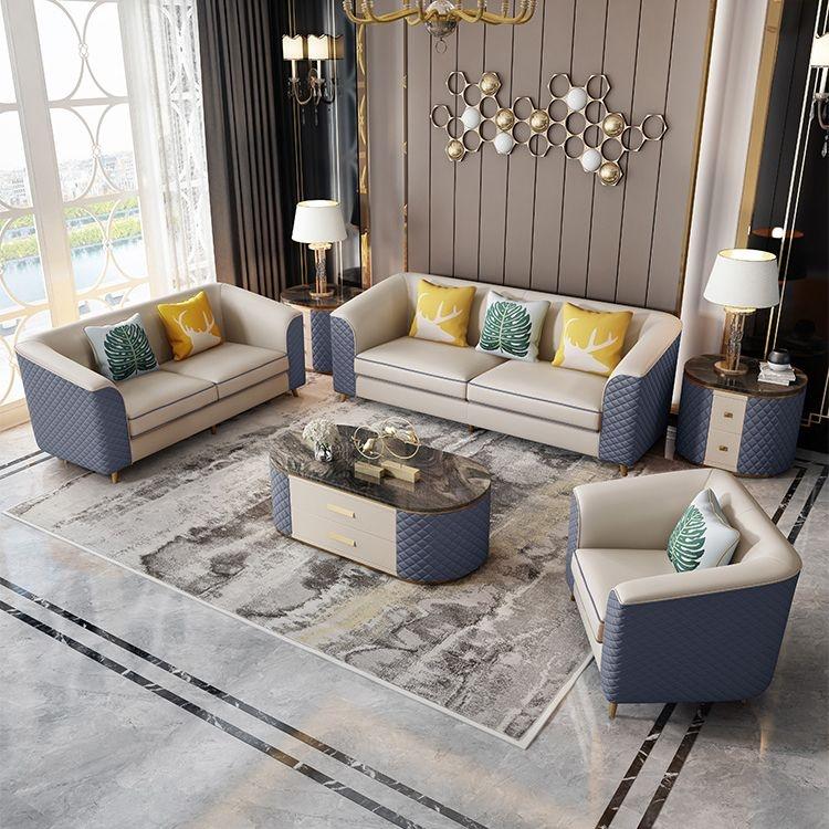 【致本家居】轻奢风格 简约实木皮艺沙发小户型高端时尚沙发组合1+2+3【仿真皮蓝色】