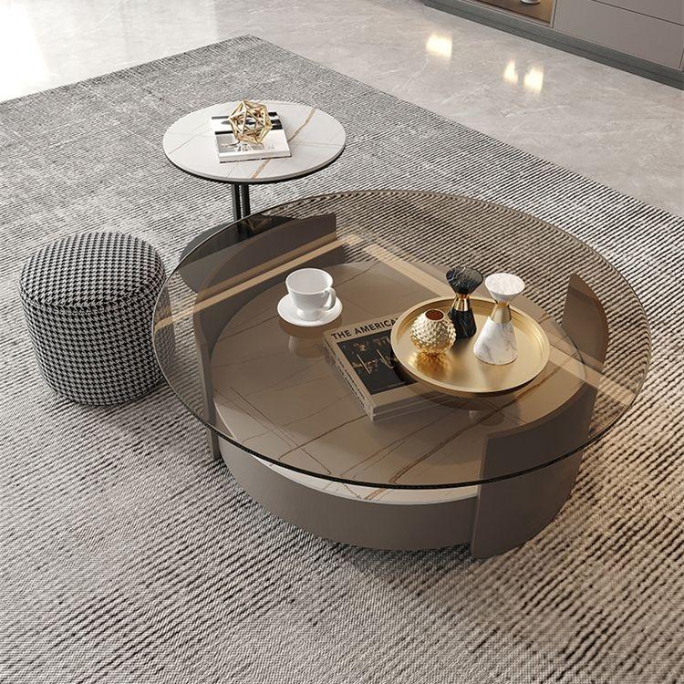 【摩登奢居】现代岩板玻璃茶几组合客厅家用圆形创意小户型茶桌(抽屉款)