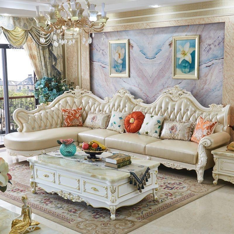 【希莱斯特】欧式沙发客厅实木高档头层真皮转角沙发别墅贵妃   (1+3+贵妃)