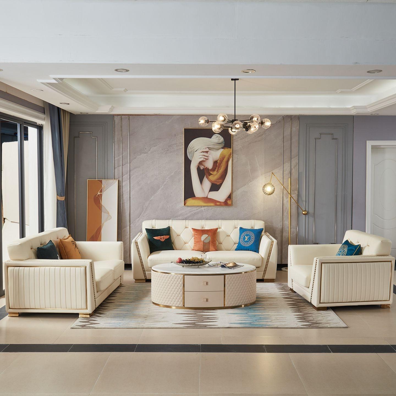 【艾锐思】臻品系列 轻奢高端客厅家具 小户型1+2+3组合沙发(超纤皮)