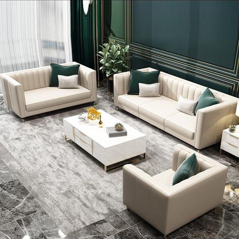 【雅利思格】轻奢风格 落叶松木框架家用客厅时尚轻奢皮艺组合沙发(1+2+3-真皮)